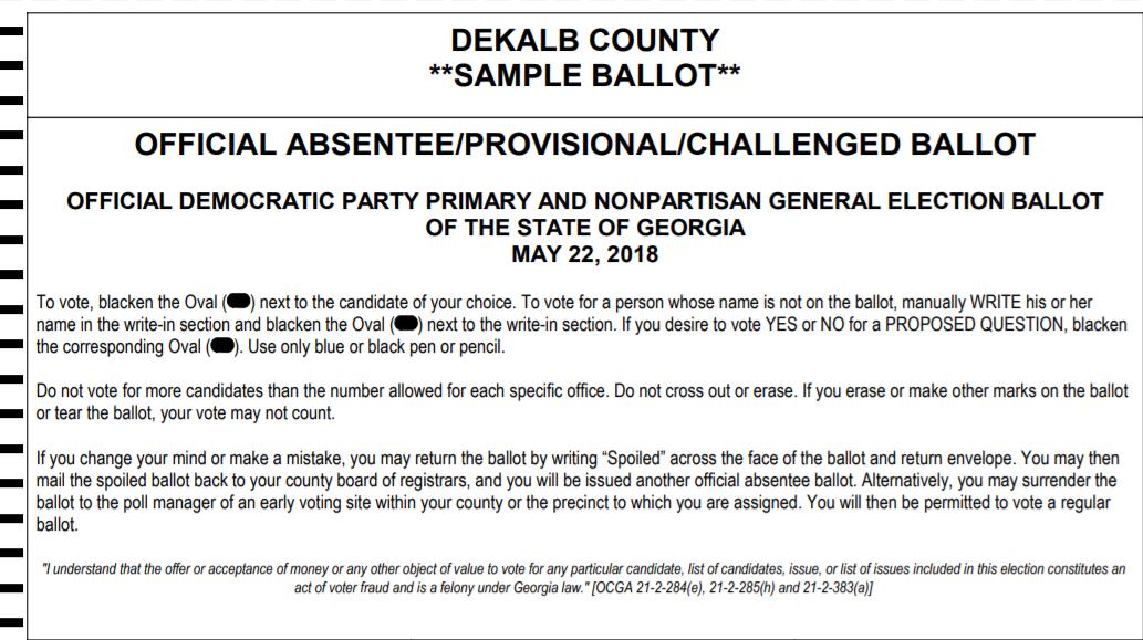 Georgia Democratic Sample Ballot May 22, 2018 Primary